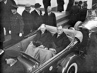 Roosevelt, Pres. Franklin D. ; Inauguration. with Pres. Hoover in auto.