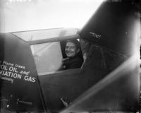 Stinson, Eddie; Flier. In cabin of plane with Randolph Page.