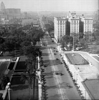 Streets; Woodward. before widening. South of Blvd. Art Institute & library section.