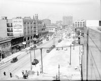 Streets; Woodward. Widening construction. North from Willis. Showing the Graystone Ballroom