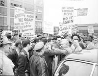 Wallace, Henry A. politician. with strikers at Dodge Plant & Chrysler Plant