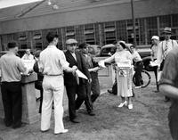 Labor Unions; Auto; U. A. W. ; Ford Motor. -U. A. W. Men Distribute Papers to Ford Men