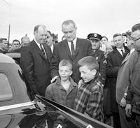 Johnson, Lyndon B; US President. Visits tornado disaster area in Toledo, Ohio