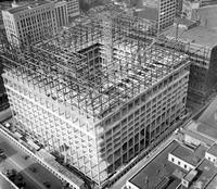 Federal Building; Construction. On Lafayette. Showing Steel Girders. Taken from 35th Floor of the Penobscot Building.