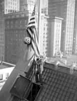 Federal Building; Old. Interior Scenes. Lowering Flag.