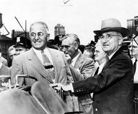 Truman, Harry S. ; Ex President United States; In Detroit. With August Scholle and Eugene Antwerp