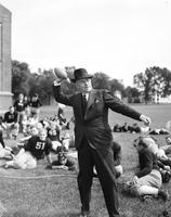 Yost, Fielding; At Football Practice with Team.