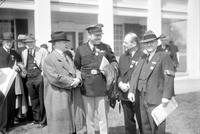 Wright Brothers Celebration; Dearborn; Groups. -William E. Scripps & Walter R. Brookins. - Brigadier General Benjamin Foulois, Colonel Roscoe Turner,  Major James Doolittle & Horace B. Wild. -Igor Sikorsky & W. Poawloski. -Walter Lee & Walter Brookins. -W. R. May & Captain A. Roy Brown. -Wilbur Wright. -Griffith Brewer. -Large Group with William E. Scripps