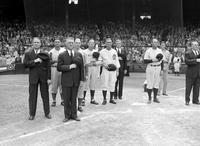 Wars; World; # 2; Detroit; Baseball. Standing at attention for Star Spangled Banner.