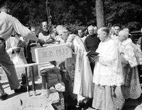 Catholic; Retreats; Manresa. Bishop Gallagher Laying Cornerstone for New Building.