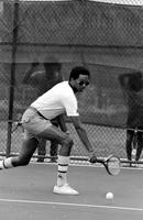 Ashe, Arthur; Tennis Pro. Helping to dedicate Harvey Barcus Tennis Complex at Farwell Field