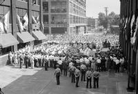Fisher Body Plant; Detroit; Navy Presents Flag to General Motors