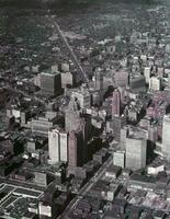 Detroit; Downtown; Aerials. looking north from Jefferson.