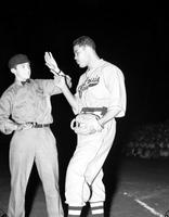 Louis, Joe; Boxer; Baseball. In uniform. Willis Ross, Julius Redman, Harley Larkin, Mike Lorkett
