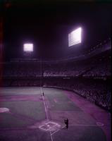 Baseball; Detroit; Briggs Stadium. night views of crowd & diamond.