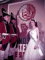 Canada; Cities; Windsor; Centennial. Miss Doris Crawford, Queen. On left;   Sgt. Mike Harnadek - Essex Scottish Reg. 538 & Stanley Sobie - No. 6 Technical Reg. Royal Canadian Electrical & Mechanical Engineers. taken 1954