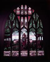 Christ Lutheran Church. E Vernor at Iroquois. taken 1950. stained glass window
