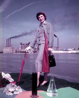 Clothing; Women; Chemical Outfit. Drusilla Gleed poses at the Glycol Plant of the Wyandotte Chemical Corp. taken March 1957