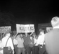 Riots: Vernor Police Station . Demonstrators protest policemans fatal shooting of Kenneth Evans, 18 .