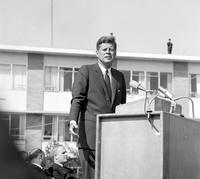 Kennedy, John F. President In Flint;. Crowd scene observing speech.