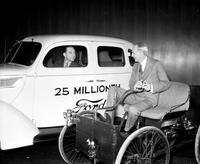 Ford, Henry; Autos; With 25 Millionth Ford. and 1st Model.
