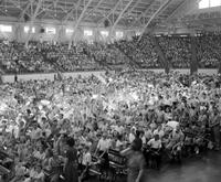 Ford, Henry; Birthdays. 75th Birthday party at state Fair Grounds; Crowds.
