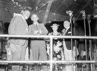 Ford, Henry; Birthdays; 75th Birthday. with Mayor Richard Reading, Mrs. Ford and Henry Ford, Eugene I. Van Antwerp.