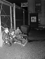 Wars; World; #2; Detroit . Selfridge Field Troops set up machine guns at Ambassador Bridge
