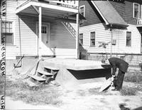 Wars; World; # 2; Detroit; Air Raid; Shelters. - Bomb shelter built by Wm. Schumaker at 14818 Dexter