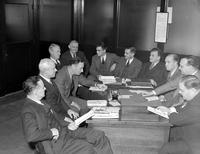 Wars; World; # 2; Detroit; Housing; Consultants. Appointed by Gov. Kelly. left to right: W. Guinan, Edward Kuhlman, C. Edgecombe, Donald James, E. Thal, John Thomas, John Hepler, Dr. Otoo Engelke, Capt. D. Leonard, Raymond Foley, and Frank Walsh