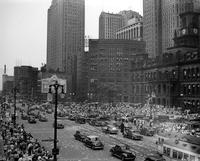 Wars; World; # 2; Peace; Detroit; V-J Day. Crowds in downtown scenes.