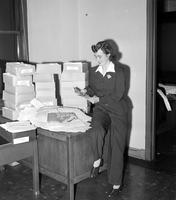 Wars; World; # 2; Anchorettes; Detroit. Barbara Kelman helps out in mail room