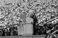 Johnson, Lyndon B. ; United States President. At U of M commencement, Ann Arbor. With George Romney and Harlan Hatcher.
