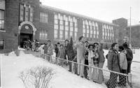 School Busing . for Desegregation; Detroit; First days of Busing Plan . Busing is no problem to these happy classmates at Flemming School. Carol Johnson, Sharnina Williams, Lewis Hill, and Laura Boccia.