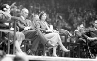 Ford, Henry; Politics; At Olympia for Hoover speech, seated beside Mrs. Wilber Brucker.