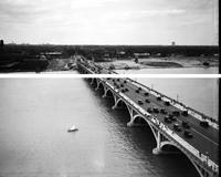 Aerial; Bridges; Belle Isle; From Jefferson Avenue Approach.