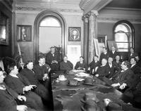 Detroit United Railway; Strike Settlement; Sep 20, 1911. Copy negative in 4x5 file. at bargaining table. May 13, 1915. 3 glass negs