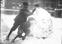 Christmas Scenes; Children Playing in Snow