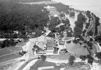 Detroit; Belle Isle; Casino; Aerial View. Conservatory, lagoons & symphony shell