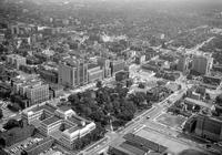Detroit; Parks; Cass; Aerial View. Showing Kresge Bldg. , Fort Wayne hotel, and the Masonic Temple. Date is 1956