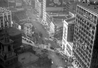 Detroit; Streets; Michigan Avenue; Downtown; Aerial View. Looking east toward Woodward.