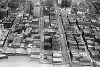 Detroit; Streets; Woodward; Downtown; Aerial View. Looking north from river.