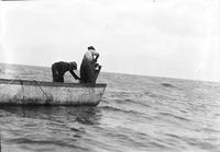 Fishing; Commercial; Saginaw Bay. Fishermen in boats. 5 negs.
