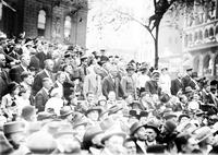 Ford, Henry; Groups; With Marx, Oscar. Speaking to crowds for World War draft issue. In draft parade.