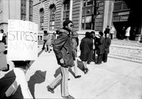 Police Department; Stress (S. T. R. E. S. S. ). Anti- strees demonstration in front of police headquarters.