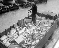 Prohibition; Raids; Detroit. Confiscating Booze. Destroying Booze. Liquor at Trumbull Station.