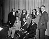 Republicans; Michigan. Front Row L to R:. Frank Merriman, St. Bd. of Agric. Mrs. Ann T. Burgess, Grand Rapids. Albert B. Chennault, Sr. WSU Bd. of Gov. Lawrence B. Lindemer, St. GOP Chairman. Mrs. Ella Koeze, Grand Rapids, Vice Chrm. Hugh H. Holloway, St. Ste. Marie Supt. Of     . Pub. Instruction. Benjamin D. Burdick, Detroit. Dr. Warren B. Cooksey, Detroit. Edward G. Durance, Midland . Whitney W. Ballantine, Wayne. .