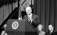 Ford, Gerald R. ; United States President. At U of M, Ann Arbor, to kick off his campaign for the November election.