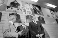 Ford, Gerald R. ; Former United States President. Induced into the Michigan Sports Hall of Fame, Cobo Hall.--With Alex Delvecchio & Dave DeBusschere.--With Nick Kerbawy. 16 negs.