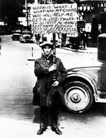 "Depression; Detroit;  Man Carrying A Sign ""Work Is What I Want. . ""."